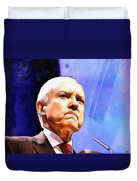 Duvet Cover featuring the painting Orrin Hatch by Kai Saarto