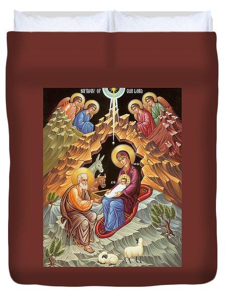 Orthodox Nativity Scene Duvet Cover