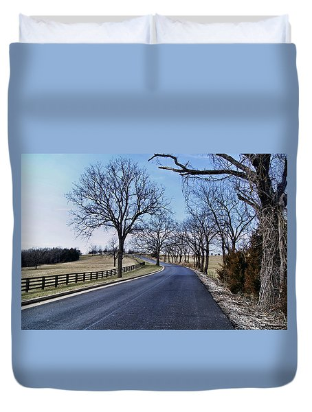 Duvet Cover featuring the photograph Osage County Road by Cricket Hackmann
