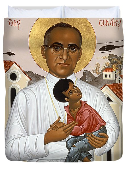 St. Oscar Romero Of El Salvado - Rlosr Duvet Cover