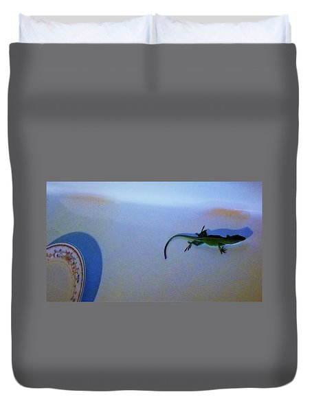 Duvet Cover featuring the photograph Oscar The Lizard by Denise Fulmer