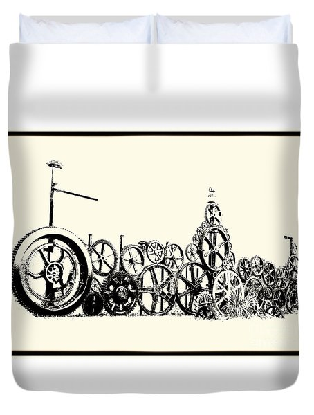 Duvet Cover featuring the photograph Osgood's Clock Repair by Mim White