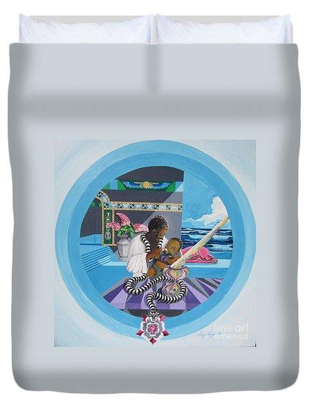 Blaa Kattproduksjoner             Osiris Feeding His Son Horus Duvet Cover