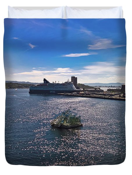 Oslo Fjord From The Roof Of The National Opera House Duvet Cover