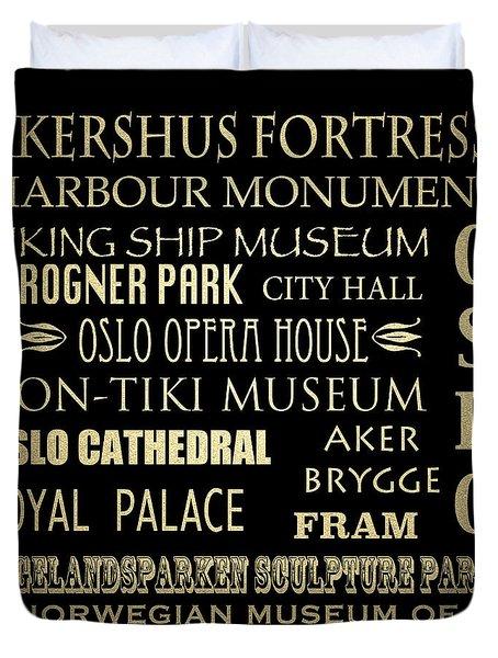 Oslo Famous Landmarks Duvet Cover