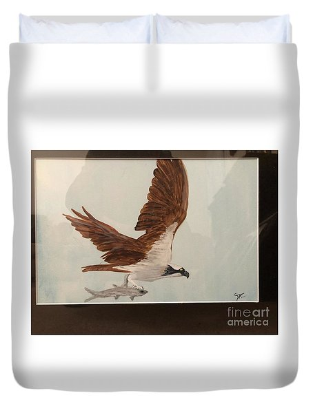 Duvet Cover featuring the painting Osprey by Donald Paczynski