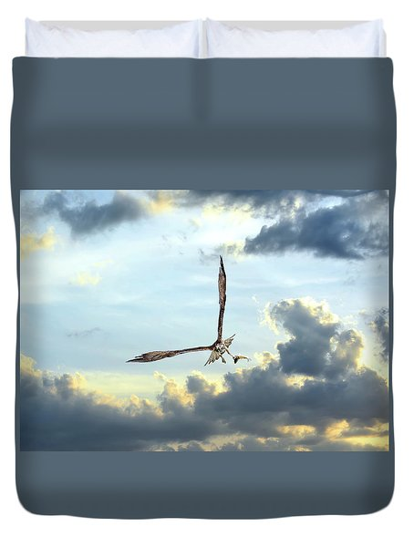 Osprey Flying In Clouds At Sunset With Fish In Talons Duvet Cover