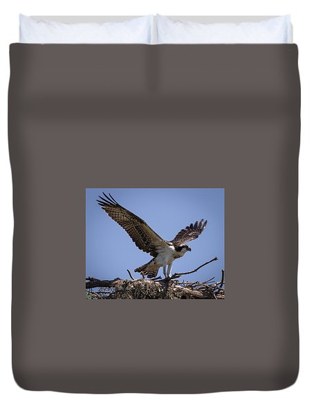 Duvet Cover featuring the photograph Osprey In Nest 1 by Gregory Daley  PPSA