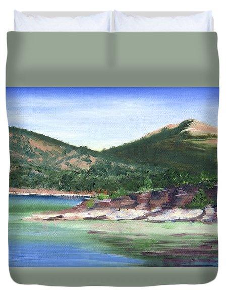 Osprey Island Flaming Gorge Duvet Cover by Jane Autry