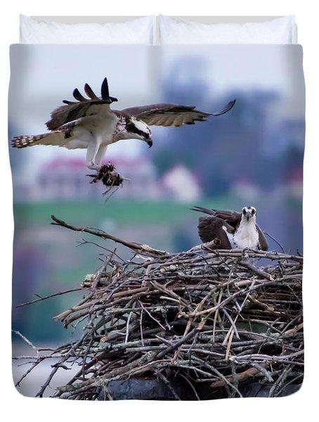 Osprey Nest Building Duvet Cover