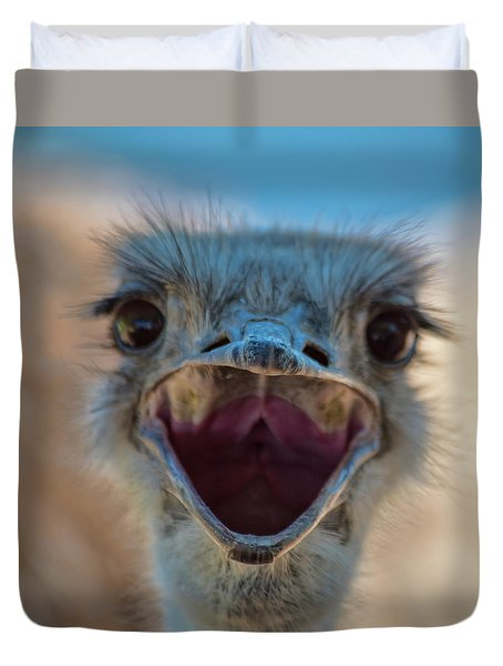 Ostrich Big Mouth Duvet Cover