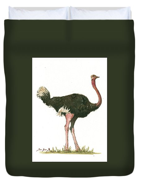 Ostrich Bird Duvet Cover by Juan Bosco