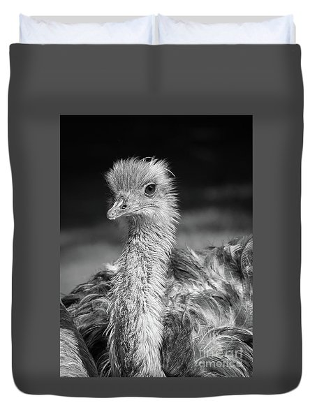 Ostrich Black And White Duvet Cover