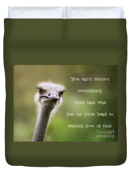 Ostrich Having A Bad Hair Day Duvet Cover