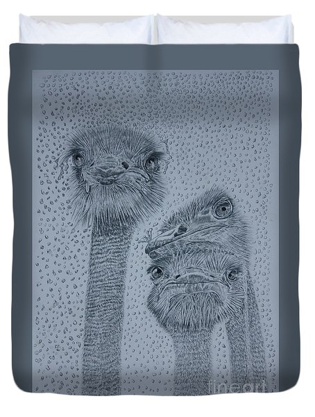 Ostrich Umbrella Duvet Cover