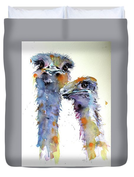 Duvet Cover featuring the painting Ostriches by Kovacs Anna Brigitta