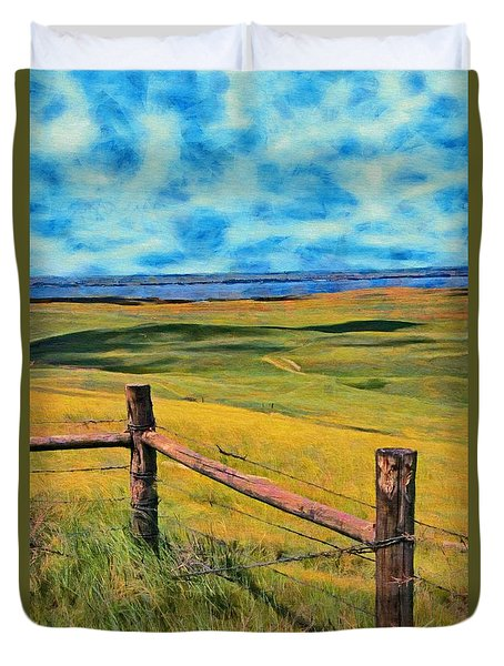Duvet Cover featuring the painting Other Side Of The Fence by Jeff Kolker