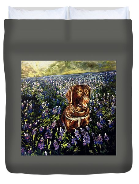 Otis In The Bluebonnets Duvet Cover