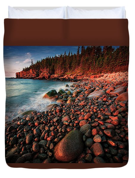 Duvet Cover featuring the photograph Otter Beach Main After The First Light  by Emmanuel Panagiotakis
