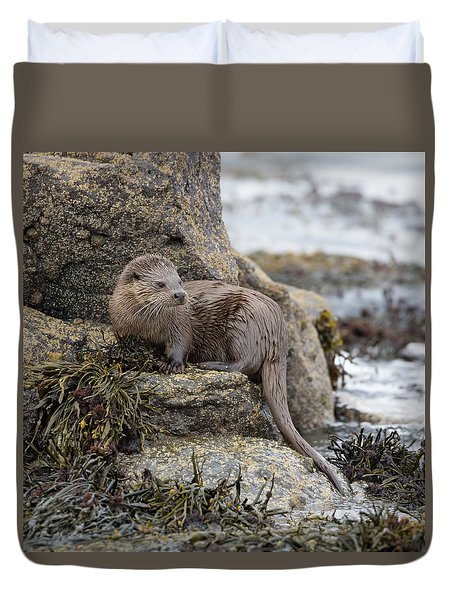 Otter Beside Loch Duvet Cover