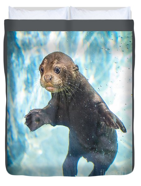 Otter Cuteness Duvet Cover by Jamie Pham
