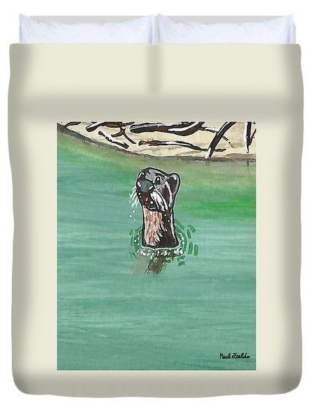 Otter In Amazon River Duvet Cover