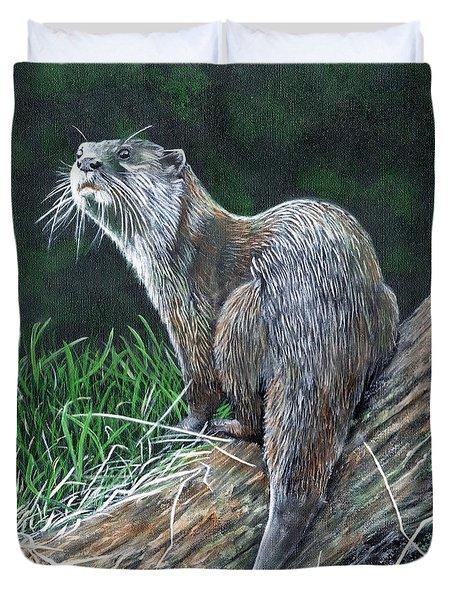 Otter On Branch Duvet Cover