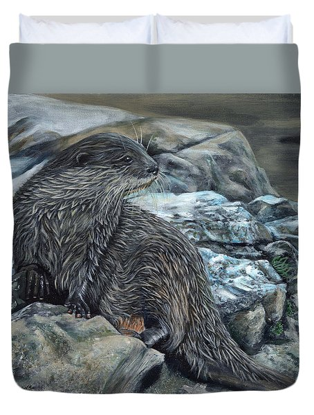 Otter On Rocks Duvet Cover