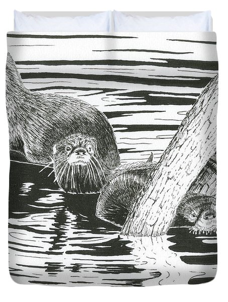 Otters Three Duvet Cover