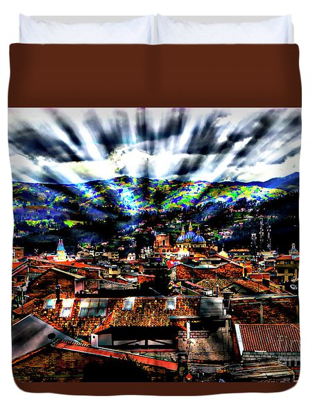 Our City In The Andes Duvet Cover by Al Bourassa