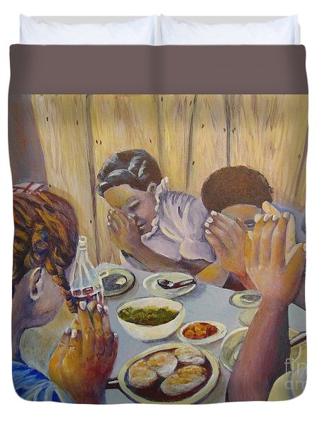 Duvet Cover featuring the painting Our Daily Bread by Saundra Johnson