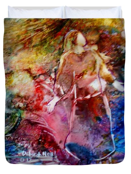 Duvet Cover featuring the painting Our God Is An Awesome God by Deborah Nell