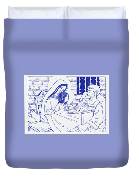 Duvet Cover featuring the painting Our Lady And The Holy Child Jesus Visit St Ignatius The Convalescent In Loyola by William Hart McNichols