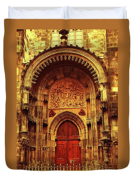 Duvet Cover featuring the photograph Our Lady Before Tyn 1. Architecture. Series Golden Prague by Jenny Rainbow