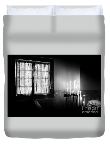 Our Lady Chapel Detail In  The Ons' Lieve Heer Op Solder Amsterdan Bw Duvet Cover by RicardMN Photography