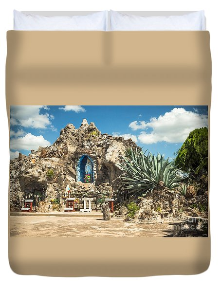Our Lady Of Lourdes Grotto Duvet Cover