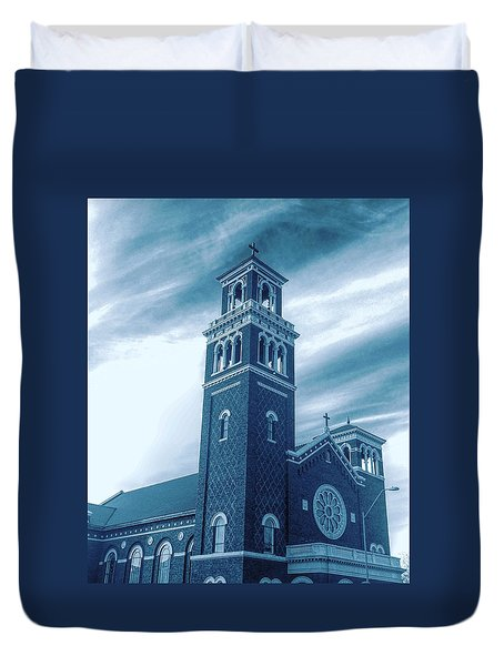 Our Lady Of Sorrows Under Wispy Skies Duvet Cover