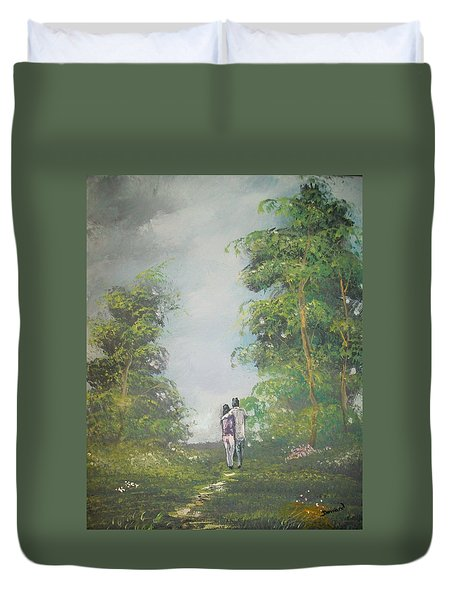 Duvet Cover featuring the painting Our Time Together by Raymond Doward