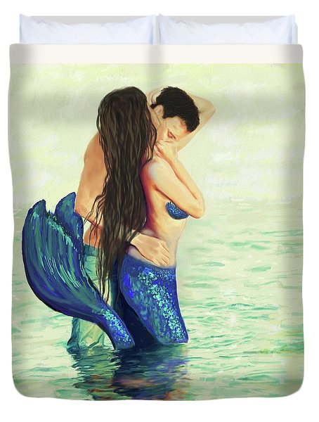 Duvet Cover featuring the painting Our Treasured Love by Leslie Allen