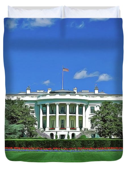 Duvet Cover featuring the painting Our White House by Harry Warrick