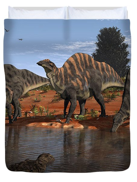 Ouranosaurus Drink At A Watering Hole Duvet Cover by Walter Myers