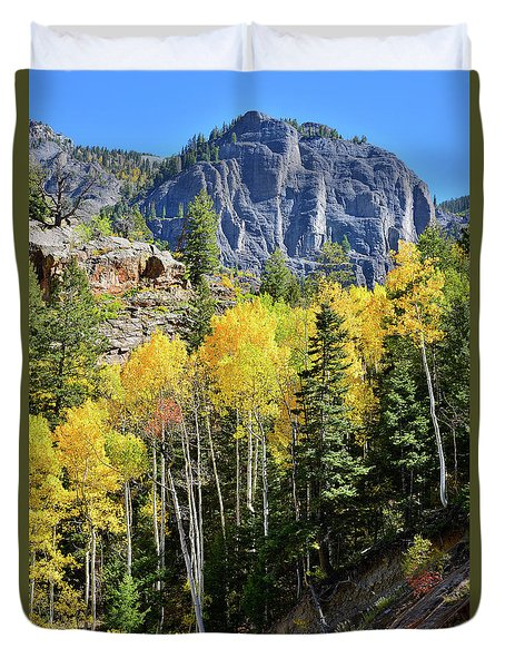 Duvet Cover featuring the photograph Ouray Aspens by Ray Mathis