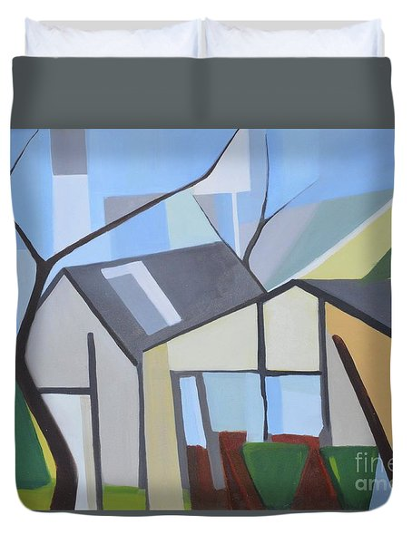 Out Back Down Oakwood Duvet Cover by Ron Erickson