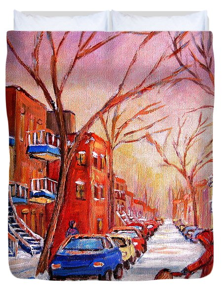 Duvet Cover featuring the painting Out For A Walk With Mom by Carole Spandau