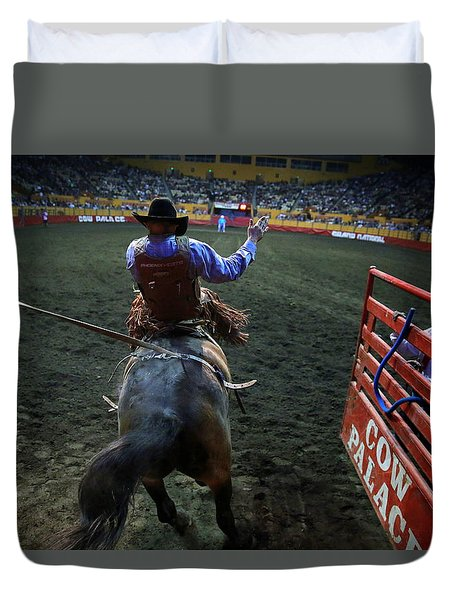 Duvet Cover featuring the photograph Out Of The Chute by John King