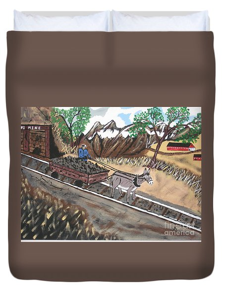 Duvet Cover featuring the painting Out Of The Dark And Into The Blue Coal Mine by Jeffrey Koss
