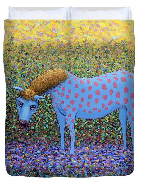 Duvet Cover featuring the painting Out Of The Pasture by James W Johnson