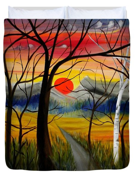 Duvet Cover featuring the painting Out Of The Woods by Renate Nadi Wesley