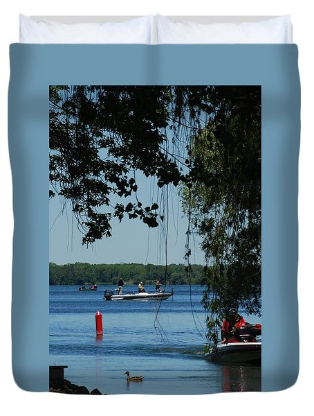 Duvet Cover featuring the photograph Out On The Lake by Ramona Whiteaker