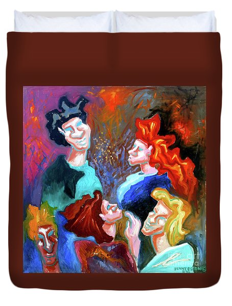 Duvet Cover featuring the painting Out On The Town by Genevieve Esson